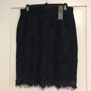 Ann Taylor Navy Blue Lace Skirt 6 Petite